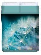 Raindrops On Dandelion Sea Blue Duvet Cover