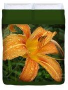 Raindrops On Golden Lily Duvet Cover