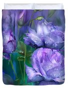 Raindrops On Lavender Roses Duvet Cover