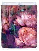 Raindrops On Peach Roses Duvet Cover