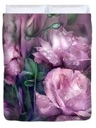 Raindrops On Pink Roses Duvet Cover