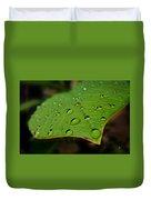 Raindrops On Plumeria Leaf Duvet Cover
