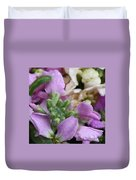 Raindrops On Purple And White Flowers Duvet Cover