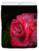 Raindrops On Roses Duvet Cover by Peggy Hughes
