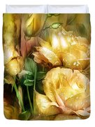 Raindrops On Yellow Roses Duvet Cover