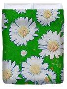 Raining White Flower Power Duvet Cover