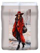 Rainy Day - Red And Black #2 Duvet Cover by Emerico Imre Toth