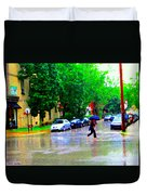 Rainy Days And Mondays Girl Running With The Blue Umbrella Montreal Art City Scenes Carole Spandau Duvet Cover
