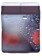 Rainy Windshield Brake Lights Duvet Cover