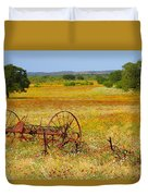 Ranch And Wildflowers And Old Implement 2am-110547 Duvet Cover