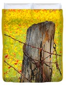 Ranch Wildflowers And Fence 2am-110532 Duvet Cover