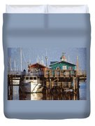Randys Whale Watching And Fishing Trips Watercolor Duvet Cover