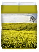Rape Landscape With Lonely Tree Duvet Cover by Heiko Koehrer-Wagner
