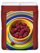 Raspberries In Yellow Bowl On Plate Duvet Cover