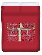 Raspberry Pints In Cardboard Flats Duvet Cover