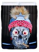 Rat Rod Skull Hood Ornament 2 Duvet Cover