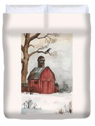 Raven And The Red Barn Duvet Cover
