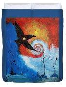 Raven In The Swirl Duvet Cover