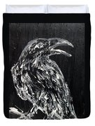 Raven On The Branch - Oil Painting Duvet Cover