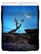 Raven On Twisted Tree With Moon Duvet Cover