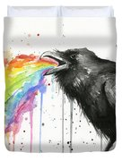 Raven Tastes The Rainbow Duvet Cover