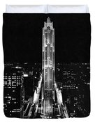 Rca Building At Night In Nyc Duvet Cover