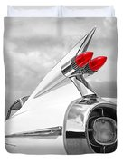Reach For The Skies - 1959 Cadillac Tail Fins Black And White Duvet Cover