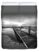 Reaching Into Sunset In Black And White Duvet Cover