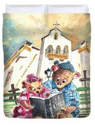 Reading The Bible In La Iruela In Spain Duvet Cover