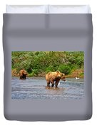 Ready To Pounce On A Salmon  In The Moraine River In Katmai National Preserve-ak Duvet Cover