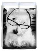 Really Portait Of A Westie Wearing Glasses Duvet Cover