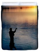 Rear View Of Fly-fisherman Silhouetted Duvet Cover