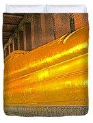 Reclining Buddha In Wat Po In Bangkok-thailand Duvet Cover