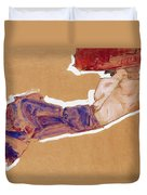 Reclining Semi-nude With Red Hat Duvet Cover