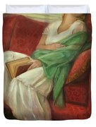 Reclining With Book Duvet Cover