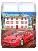 Enzo Ferrari S Garage With 1995 Ferrari 512m Duvet Cover