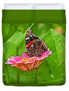 Red Admiral Butterfly And Zinnia Flower Duvet Cover