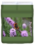 Red Admiral Butterfly On A Blazing Star Duvet Cover