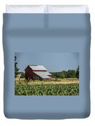Red Amish Barn And Corn Fields Duvet Cover