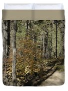 Red Among The Pines Duvet Cover