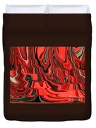 Red And Black Flowing Abstract Duvet Cover