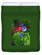 Red And Blue Anemones Duvet Cover