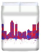 Red And Blue Art Print Of The Skyline Of Atlanta Georgia Usa Duvet Cover