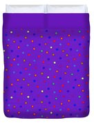 Red And Blue Polka Dots On Purple Fabric Background Duvet Cover
