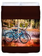 Red And Blue Rides Duvet Cover