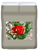 Red And Cream Rose Duvet Cover