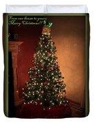 Red And Gold Christmas Tree With Caption Duvet Cover