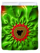 Red And Green Abstract Fractal Art Duvet Cover