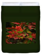 Red And Green Autumn Leaves Duvet Cover