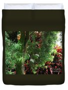 Red And Green Foliage Duvet Cover